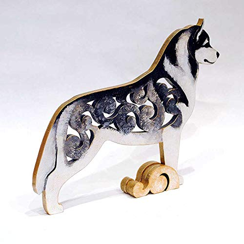 White with black Husky figurine statuette hand-painted MDF dog statue made of wood