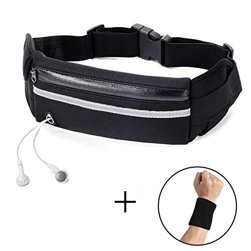ZOORON Running Waist Pack Bag Sports Belt, Fitness Fanny Packs Phone Pouch Bag Runner Workout Belt Waterproof with Reflective Strips (Black)