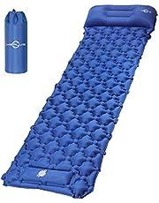 وسادة نوم قابلة للنفخ للتخييم، بساط نوم خفيف الوزن مقاوم للماء مع وسادة، مضخة القدم سريعة النفخ والتفريغ، مرتبة هواء سميكة للتخييم والتنزه، خيمة سفر - أزرق