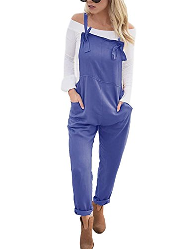 YOINS Women Fashion Overalls Bib Baggy Dungaree Adjustable Strap Romper Jumpsuit Royal M