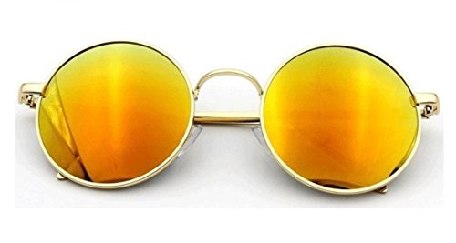 Flowertree Unisex S8017 Classic Gold-tone Metal Frame Round 52mm Sunglasses (orange) ()