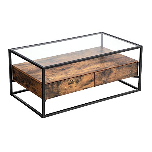 VASAGLE Industrial Coffee Table, Tempered Glass Top with 2 Drawers and Rustic Shelf, Decoration in Living Room, Lounge, Stable Iron Frame ULCT31BX (With Metal Wood Table Top)