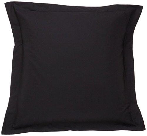 saharbeddings European Pillow Shams Set of 2 Black Hotel Stitch Pillow Shams 500 Thread Count 100% Egyptian Cotton Cushion Cover European Square Decorative Pillow Cover (European 24x24, Black Solid)