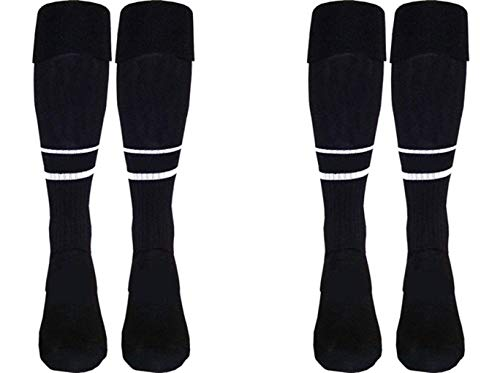 Soccer Referee Socks 2 Pair (Black, Adult (8.5-13))