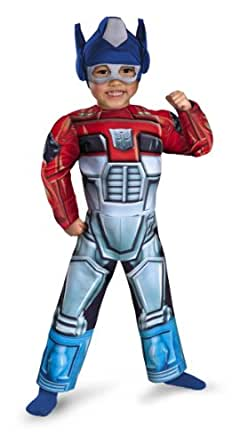 Optimus Prime Rescue Bot Toddler Muscle Costume, Red/Blue, Toddler Large