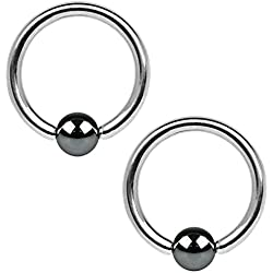 BodyJ4You 2PCS Ball Closure Ring Hematite Plated Steel 14G BCR 16mm Ear Lobe Conch Nipple Lip Genital Piercing