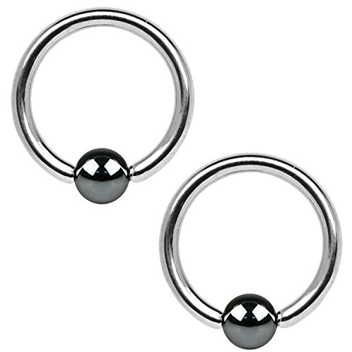 BodyJ4You 2PC Ball Closure Ring Hematite Plated Steel 14G BCR 12mm Tragus Conch Septum Nose Nipple Piercing ()