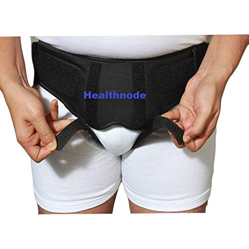 Healthnode(TM) Inguinal Hernia Belt for Men Post Surgery Hernia Pain Relief Truss Brace for Double/Single Inguinal Superior Comfort & Adjustable Pressure 2 Removable Foam Pads (Black, Large)
