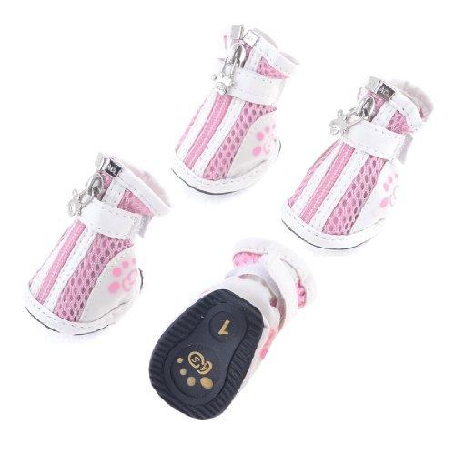 eDealMax Dog Chihuaha Nonslip Semelle en Caoutchouc Crochet Chaussures agrippante Blanc Rose 2 paires XXS