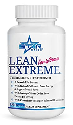 LEAN EXTREME Thermogenic Diet Pills and Fast Weight Loss for Women - 4X more Green Coffee Bean, Appetite Suppressant & Energy Booster, A Premium Weight Loss Pills, Supports Balanced Hormones, 90-Count