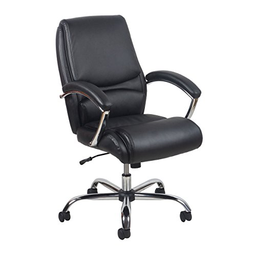 Essentials High-Back Leather Executive Office/Computer Chair with Arms - Ergonomic Adjustable Swivel Chair, Black/Chrome (ESS-6070)