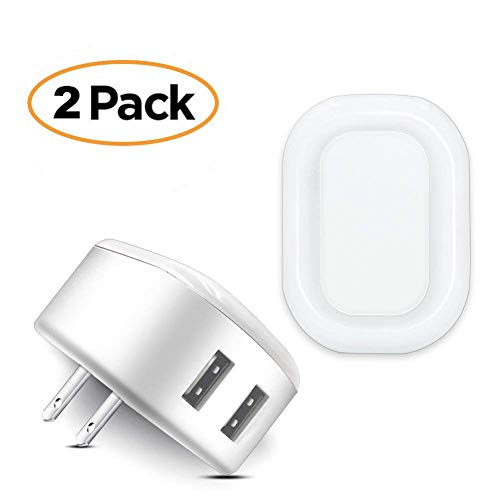 (Night Light USB Charger POWERIVER LED Sensation 2A Glow Smart Wall Charger Station Dual USB Power Adapter Travel or Home for Apple Mobile Phone iPad Android PSP ETC (Square))