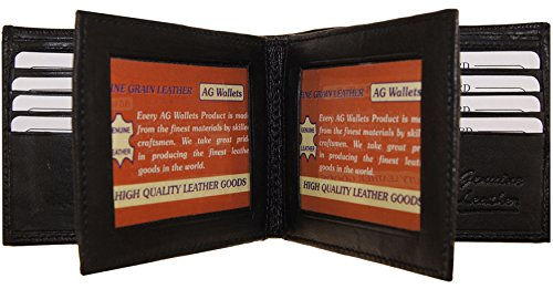 Lambskin Double Flap - AG Wallets Men's Bifold Leather Wallet With Double Center Flap / 3 ID Windows