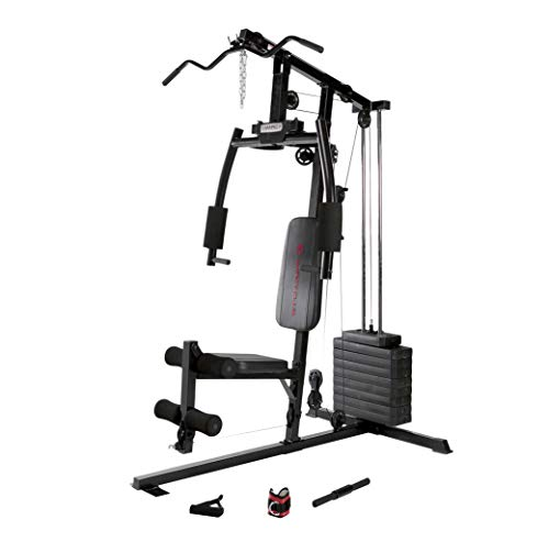 (Marcy 120 Lb. Single Stack Home Gym with Pulley, Press Arm, Leg Developer Multifunctional Workout Station for Weightlifting and Body Building MKM-1101)