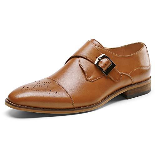 Men's Monk Strap Dress Shoes Prince Single Buckle Slip On Stylish Cap Toe Brogue Dress Loafer Brown 9.5 D (M) US