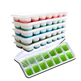 US Sense Ice Cube Trays 6 Packs Flexible Silicone Ice Trays with 14 Blocks Trays and Spill-Resistant Removable Lids Easy Release Ice Trays,BPA Free,Stackable, Dishwasher Safe 84 Shaped Cubes