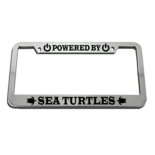 (Speedy Pros Powered by Sea Turtles Zinc Metal License Plate Frame Car Auto Tag Holder - Chrome 2 Holes)