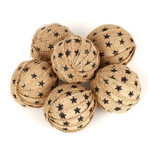 The Country House Collection Large Star Burlap Rag Ball S/6 Asst. (2.5'')
