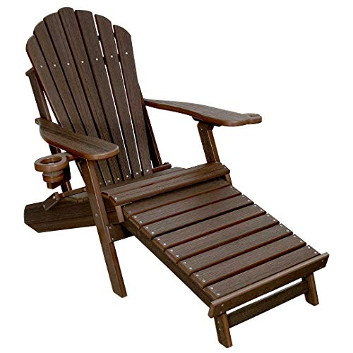 (ECCB Outdoor Outer Banks Deluxe Oversized Poly Lumber Folding Adirondack Chair with Integrated Footrest (Brazilian Walnut))