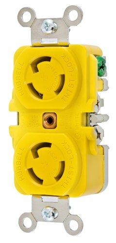Hubbell Wiring Systems HBL47CM00 Twist-Lock Duplex Receptacle, 15A, 125 VAC, Yellow