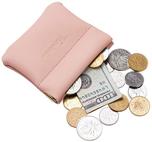 Lotus Coin - Travelambo Leather Squeeze Coin Purse Pouch Change Holder For Men & Women (Access Pink Lotus)