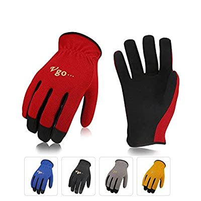 Vgo... AL-8736 Multi-Functional Gardening Training Crafting Work Gloves Value Pack(5-Pairs, 5 Color, Size M/L/XL)