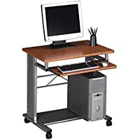 Contemporary Mobile PC Station Medium Cherry Laminate/Metalic Gray Frame Dimensions: 28.5W x 23D x 28.75H Weight: 41 lbs.
