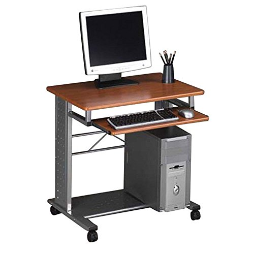 Contemporary Mobile PC Station Medium Cherry Laminate/Metalic Gray Frame Dimensions: 28.5''W x 23''D x 28.75''H Weight: 41 lbs. by Mayline Group