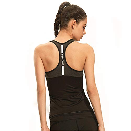Workout Clothes for Women - Activewear Racerback Tank Top for Running Yoga Gym with Graphic Design by Become. (Black, Large)