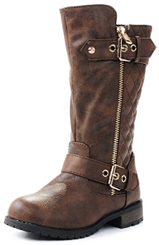 JJF Shoes Kids Girls Mango21 Brown Dual Buckle/Zipper Quilted Mid Calf Motorcycle ()
