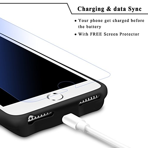 iPhone 8 Plus 7 Plus 6s Plus 6 Plus Battery condition LoHi 7000mAh Capacity assistance Headphones super thin Extended Battery Rechargeable Protective mobile Charger 55 Inch Black Battery Charger Cases