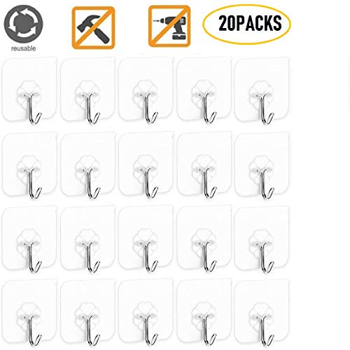 - Lyyes Self Adhesive Hooks Wall Hooks Bathroom Kitchen Hanging Hook Heavy Duty 13lb max