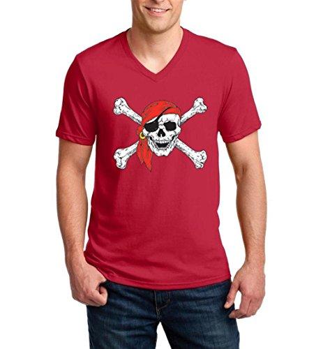 Christmas T-Shirt Jolly Roger Skull Crossbones Halloween Ugly Sweater Xmas Party Men V-Neck Shirts -