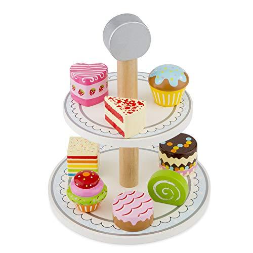 New Classic Toys- Supporto per Torta in Legno per fingere di Giocare, Giocattoli educativi e percezione del Colore, per Bambini in età prescolare, Multicolore, Cake Stand, 10622