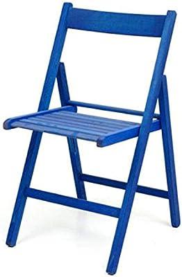 Sedie Colorate Fai Da Te.Sedia Pieghevole In Legno Colorata Naturale Blu Amazon It Fai