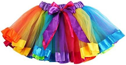 TOPUNDER Kids Baby Girls Summer Petty Rainbow Bowknot Skirt Dress Dancewear