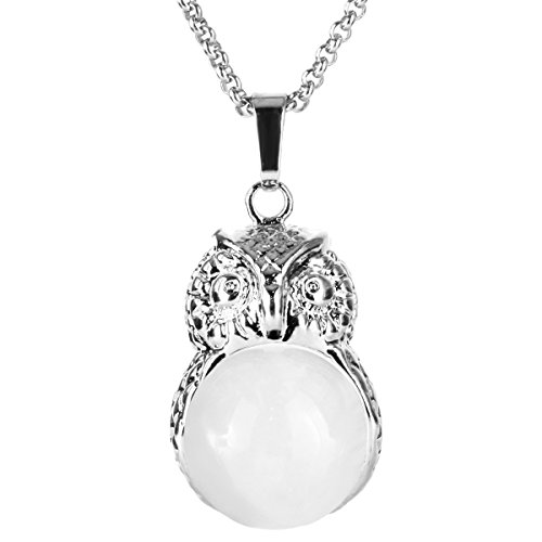 White Quartz Gemstone (BEADNOVA Vintage Natural Clear White Quartz Gemstone Necklace Crystal Chakra Owl Pendant Necklace Stainless Steel Chain 18