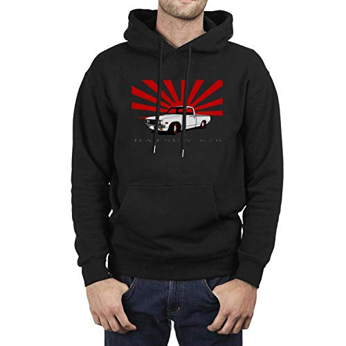 COOLGOOD Datsun-620-truck-by-Edz280zx-on-DeviantArt- Mens Solid Color Hoodies Pull on Closure Black