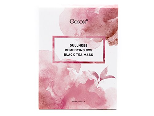Goson Tea Infused Completely Skin Rejuvenation, Brightening, Glowing, De-Stressing Nano Fiber Dense Weaved Facial Sheet Mask Non-GMO, Vegan, Alcohol-Free Black Tea Infused Face Mask