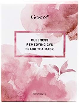 Goson Tea Infused Skin Care Face Mask Sheets - Hydrating, Moisturizing, Collagen Facial Sheet Mask - Black Tea Face Masks (5 Face Mask Pack)