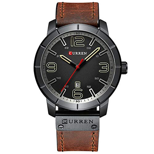 Curren Watch for Men Waterproof Large Dial Men's Casual Fashion Calendar Leather Large Dial Watch