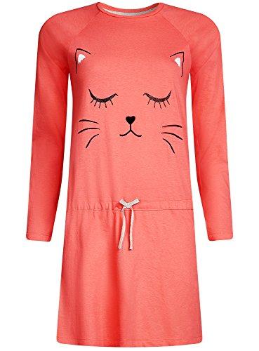 oodji Ultra Mujer Vestido de Algodón de Estar por Casa con Estampado Rosa (4329P)