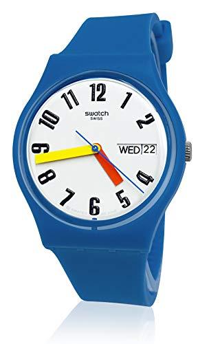 Swatch 1907 BAU Quartz Silicone Strap, Blue, 15 Casual Watch (Model: GS703)