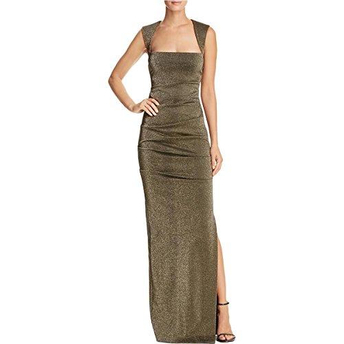 Nicole Miller Women's Lurex Ponte Felicity Gown Gold Dress ()