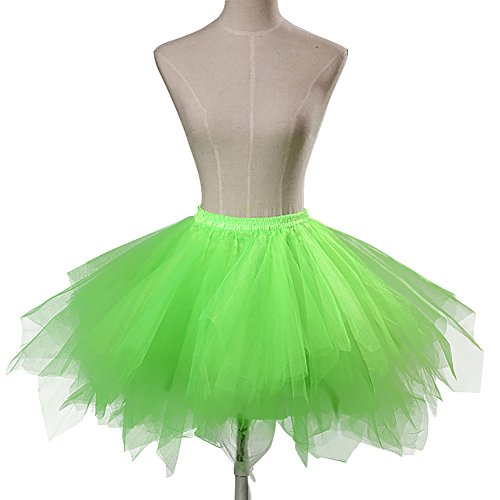 PLMS Women's Tutu Underskirt Vintage Crinoline Petticoat for Halloween Costume Party Light Green M -