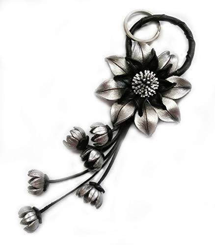 Padee Genuine Leather Silver Flower Keychain Keyring Keyfob Snap Strap for Hanging Handbag Wallet Purse Car Charm Handmade Handcraft Keychain#STPKEY0092