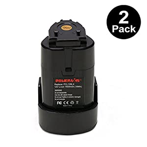 POWERAXIS 2-Pack 12v 1.5Ah Li-ion Replace for Porter Cable PCL12BLX 12-Volt Max Compact Cordless Power Tool Lithium Battery(Black)