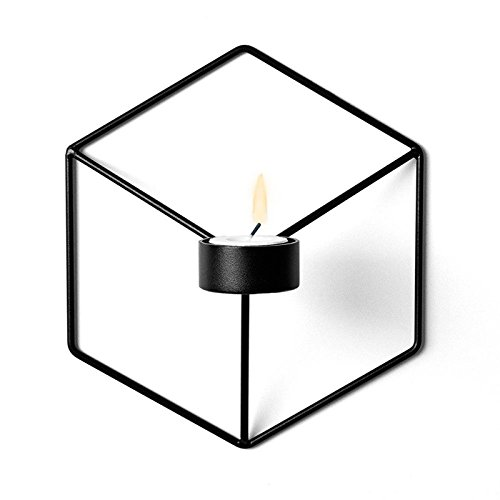 (Leoie 3D Geometric Candlestick Metal Wall Candle Holder Sconce Home Decor (Black))