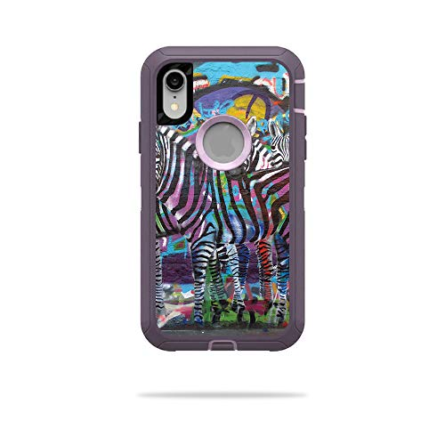 MightySkins Skin for OtterBox Defender iPhone XR Case - Zebra Gang | Protective, Durable, and Unique Vinyl Decal wrap Cover | Easy to Apply, Remove, and Change Styles | Made in The USA