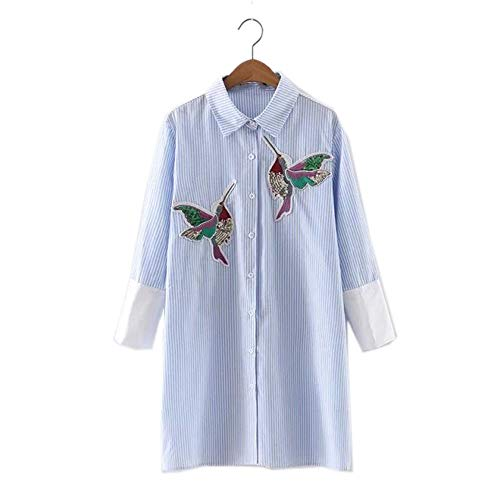 Mingning Women Bird Embroidered Blouse Shirts Long Sleeve Turn Down Collar Spring Fall Female Shirt Sky Blue L ()